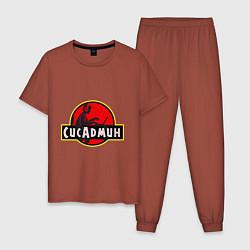 Пижама хлопковая мужская Парк Сисадмина цвета кирпичный — фото 1