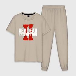 Пижама хлопковая мужская RDR II цвета миндальный — фото 1
