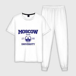 Пижама хлопковая мужская MGU Moscow University цвета белый — фото 1