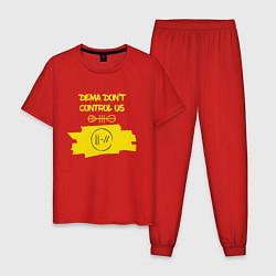 Пижама хлопковая мужская Dema Don't Control Us цвета красный — фото 1