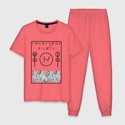 Пижама хлопковая мужская 21 Pilots: Blurryface цвета коралловый — фото 1