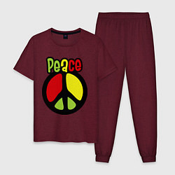 Пижама хлопковая мужская Peace tricolor цвета меланж-бордовый — фото 1