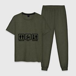 Пижама хлопковая мужская Плати, играй, конец игры цвета меланж-хаки — фото 1