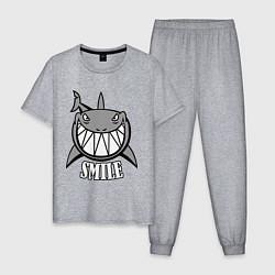 Пижама хлопковая мужская Shark Smile цвета меланж — фото 1