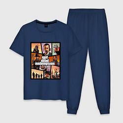 Пижама хлопковая мужская Red Dead Redemption 2 цвета тёмно-синий — фото 1