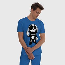 Пижама хлопковая мужская Человечек показывает fuck цвета синий — фото 2