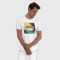 Пижама хлопковая мужская Тропическое лето цвета белый — фото 2