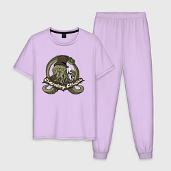 Пижама хлопковая мужская Charming Cthulhu цвета лаванда — фото 1