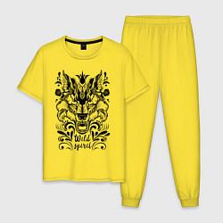 Пижама хлопковая мужская Дикая Лиса цвета желтый — фото 1