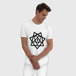 Пижама хлопковая мужская Heartagram цвета белый — фото 2