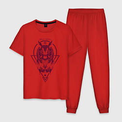 Пижама хлопковая мужская Сова цвета красный — фото 1
