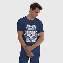 Пижама хлопковая мужская Волк цвета тёмно-синий — фото 2