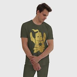 Пижама хлопковая мужская Praise the Sun! цвета меланж-хаки — фото 2