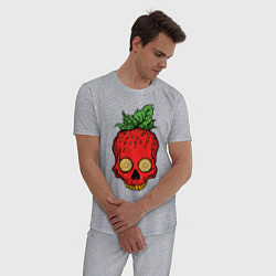 Пижама хлопковая мужская Клубничный Череп цвета меланж — фото 2