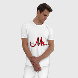 Пижама хлопковая мужская Mr. Just married цвета белый — фото 2