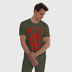 Пижама хлопковая мужская Манчестер Юнайтед цвета меланж-хаки — фото 2