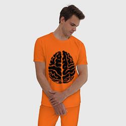 Пижама хлопковая мужская Он: мозг цвета оранжевый — фото 2