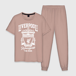 Пижама хлопковая мужская Liverpool: Est 1892 цвета пыльно-розовый — фото 1