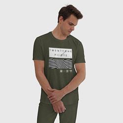 Пижама хлопковая мужская TOP: Geometry цвета меланж-хаки — фото 2