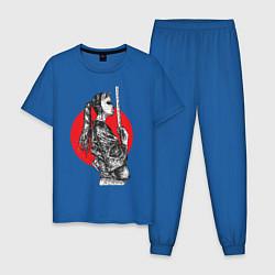 Пижама хлопковая мужская Самурай солнца цвета синий — фото 1