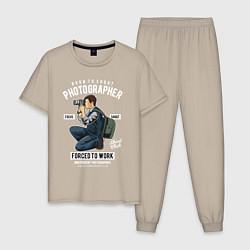 Пижама хлопковая мужская Фотограф цвета миндальный — фото 1