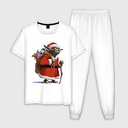 Пижама хлопковая мужская Йода Клаус цвета белый — фото 1