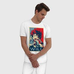 Пижама хлопковая мужская Изуку Мидория цвета белый — фото 2