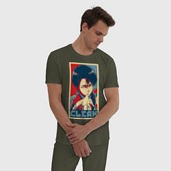 Пижама хлопковая мужская Леви Аккерман цвета меланж-хаки — фото 2
