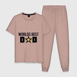 Пижама хлопковая мужская Worlds Best Dad цвета пыльно-розовый — фото 1