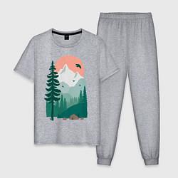 Пижама хлопковая мужская Wild Adventure цвета меланж — фото 1