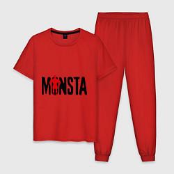 Пижама хлопковая мужская Monsta цвета красный — фото 1