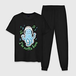 Пижама хлопковая мужская Довольный осьминог цвета черный — фото 1