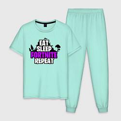 Пижама хлопковая мужская Eat, Sleep, Fortnite, Repeat цвета мятный — фото 1
