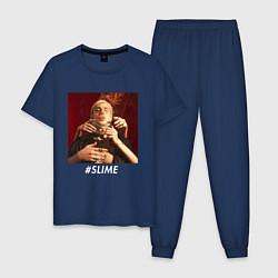 Пижама хлопковая мужская FACE SLIME цвета тёмно-синий — фото 1