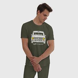 Пижама хлопковая мужская Жигули 2101 цвета меланж-хаки — фото 2