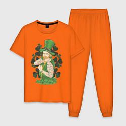 Пижама хлопковая мужская St. Patrick's Day: Tatoo цвета оранжевый — фото 1