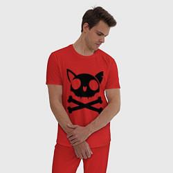 Пижама хлопковая мужская Кошачий пиратскй флаг цвета красный — фото 2