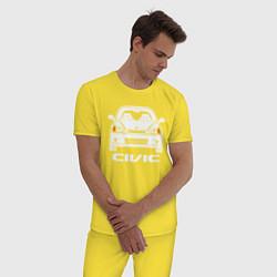 Пижама хлопковая мужская Honda Civic EK 6 цвета желтый — фото 2