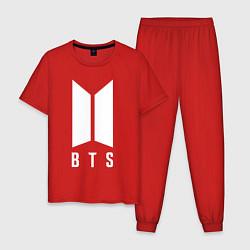 Пижама хлопковая мужская BTS SUGA цвета красный — фото 1