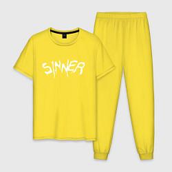 Пижама хлопковая мужская SINNER цвета желтый — фото 1