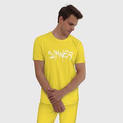 Пижама хлопковая мужская SINNER цвета желтый — фото 2