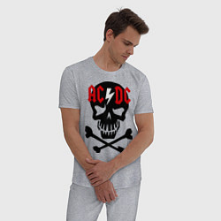 Пижама хлопковая мужская AC/DC Skull цвета меланж — фото 2