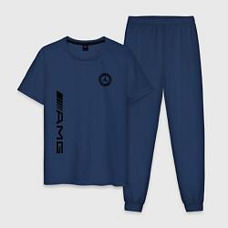 Пижама хлопковая мужская MERCEDES-BENZ AMG цвета тёмно-синий — фото 1