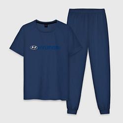 Пижама хлопковая мужская HYUNDAI цвета тёмно-синий — фото 1
