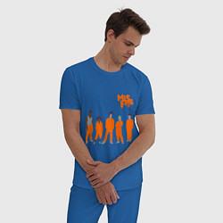 Пижама хлопковая мужская Misfits Orange цвета синий — фото 2
