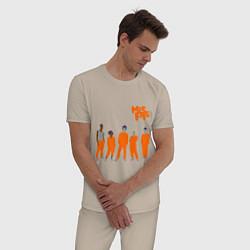 Пижама хлопковая мужская Misfits Orange цвета миндальный — фото 2