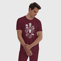 Пижама хлопковая мужская JoJo цвета меланж-бордовый — фото 2