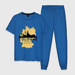 Пижама хлопковая мужская Cologne цвета синий — фото 1
