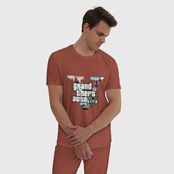 Пижама хлопковая мужская GTA 5: City цвета кирпичный — фото 2
