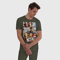 Пижама хлопковая мужская GTA 5: Stories цвета меланж-хаки — фото 2